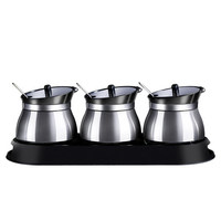 Houmaid stainless steel seasoning storage jars with holder spice sugar salt pepper storage glass bottles with rack