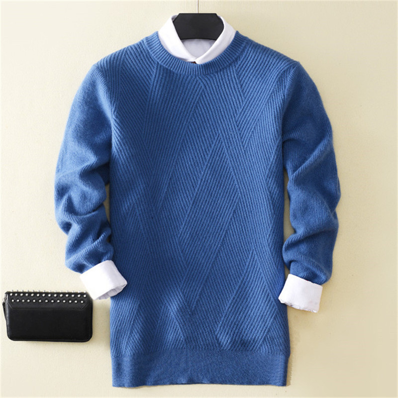 100%cashmere Oneck Knit Men Casual Loose Thick Pullover Sweater Solid Color S-3XL