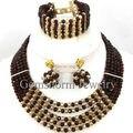 Bastante Marrón Chocolate de Oro Africano Collar de Perlas Gargantilla Collar Joyería Del Partido de Cristal de Las Mujeres Envío Gratis GS985