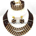 Pretty Chocolate Brown Gold African Necklace Beads Set Choker Necklace Crystal Party Jewelry Set Women Free Shipping GS985