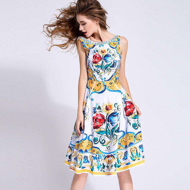 16eb20aade6 New 2016 summer fashion brand women floral porcelain tile print dress  sleeveless casual knee length stunning dresses sexy