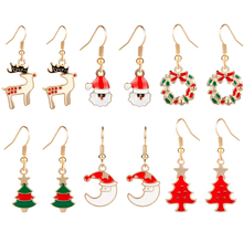 MQCHUN Fashion Women Christmas Earrings Santa Claus Pumpkin Lovely Elk Christmas Tree Halloween Dangle Earrings For Xmas Gift santa claus enamel christmas dangle earrings
