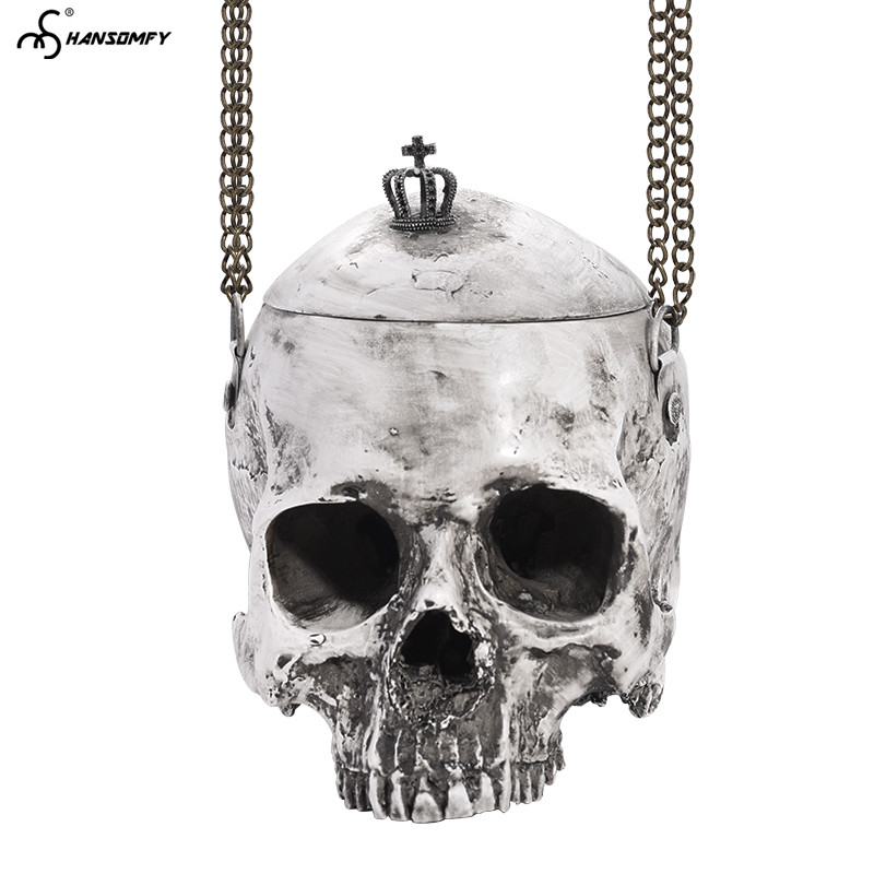 Nuovo Unisex di trucco cintura catena di grande sacchetto del Messaggero della spalla degli uomini delle Donne del cranio di Halloween personalità speciale styling borsa Nera