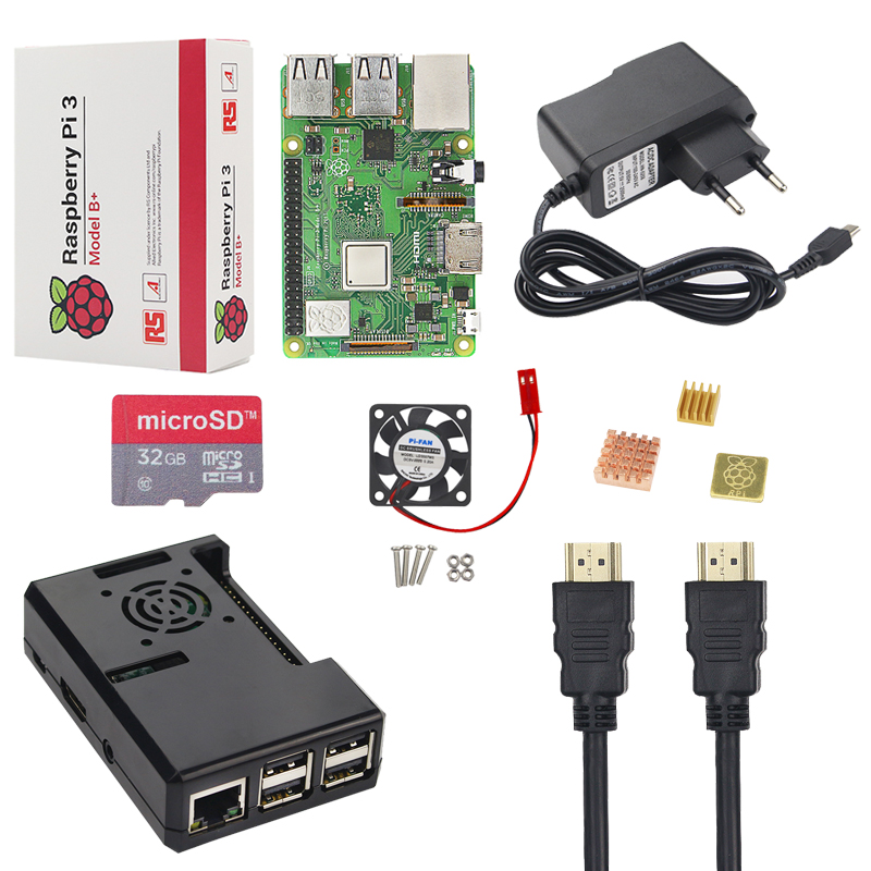 New Raspberry Pi 3 Model B+ Kit + 16 32 GB SD Card + Case + Fan + 25A Power Adapter + HDMI Cable + Heat Sink RPI 3 B Plus B+