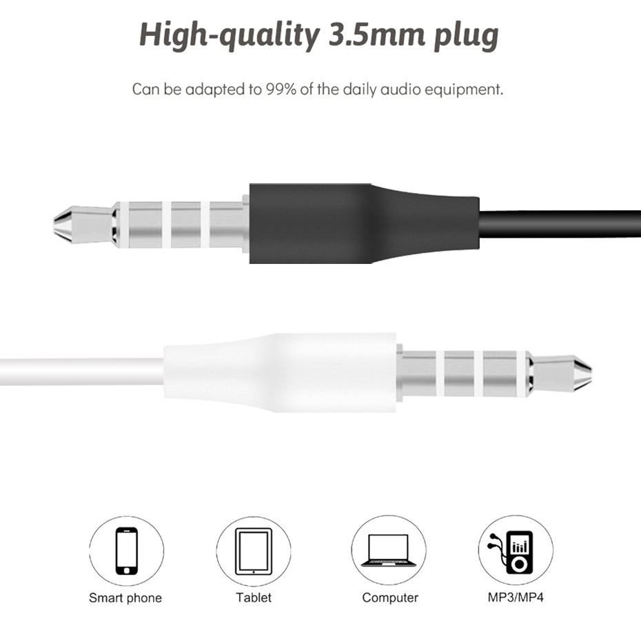 Wired Headphone 3.5mm Stereo Music Headphones Portable Sport Headphone For Mobile Phone Computer PC