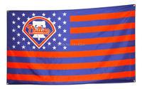 Philadelphia Phillies With Stripes And Stars Flag 150X90CM MLB 3X5 FT Banner 100D Polyester Flag Grommets