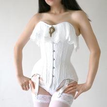 Annzley Corset White Lace Waist Slimming Overbust Corset Top Wedding Corset Bustier