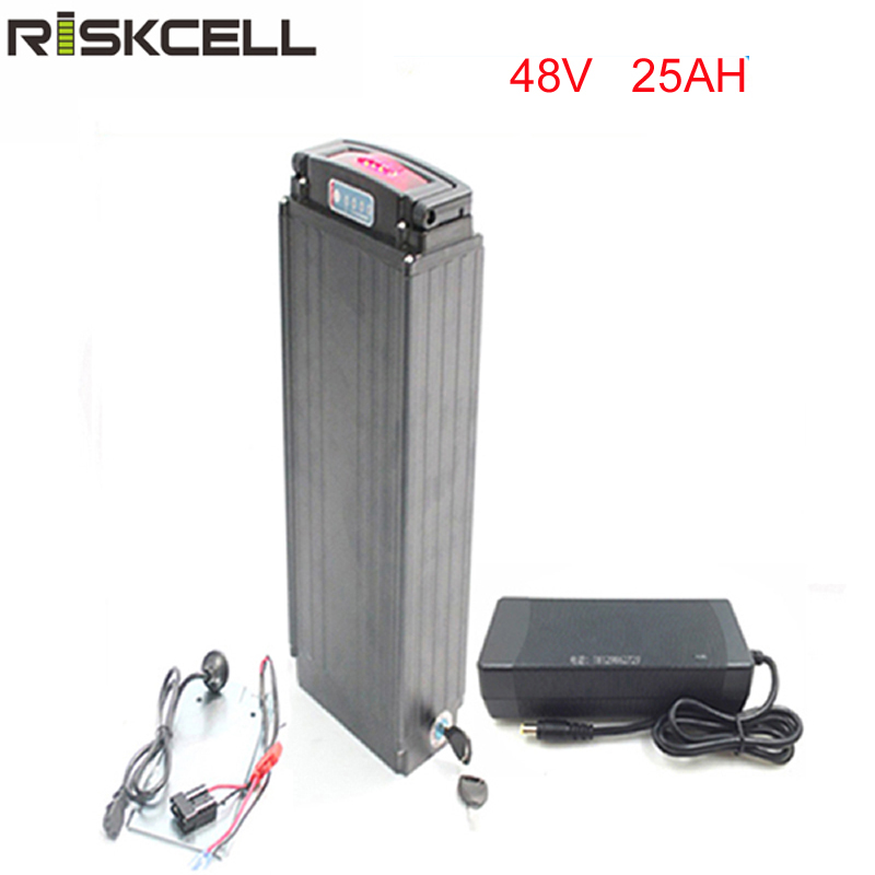 Rear rack 48V 1000W electric bike battery 48v 25ah lithium ion battery pack fit bafang 8fun motor with LED tail lamp+charger+BMS 36v 1000w e bike lithium ion battery 36v 20ah electric bike battery for 36v 1000w 500w 8fun bafang motor with charger bms
