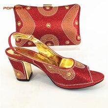 Neueste Rote Farbe Damen Italienische Schuhe und Tasche Set Verziert mit  Strass Afrikanische Hochzeit Schuhe und 5d45c8856d