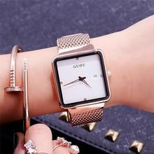 Fashion Golden Women's Diamonds Wrist Watches Luxury Brand GUOU Women Metal Mesh Stainless Steel Dress Watch Relogio Feminino