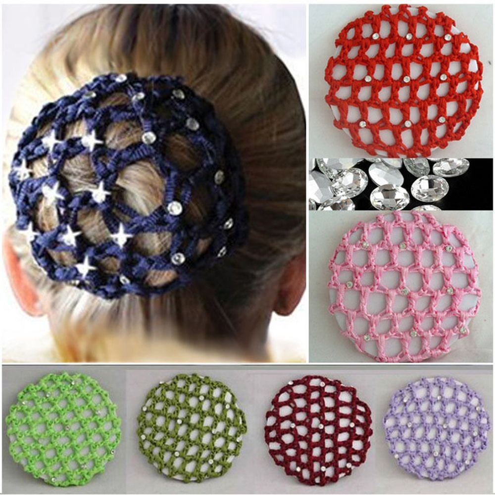 New Girls Women Bun Cover Snood Hair Net Ballet Dance Skating Crochet Chic Rhinestone Hair Styling Accessory Dropshipping