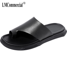 High Quality Genuine Leather flip-flops mens summer men casual beach shoes fender genuine leather slippers cowhide