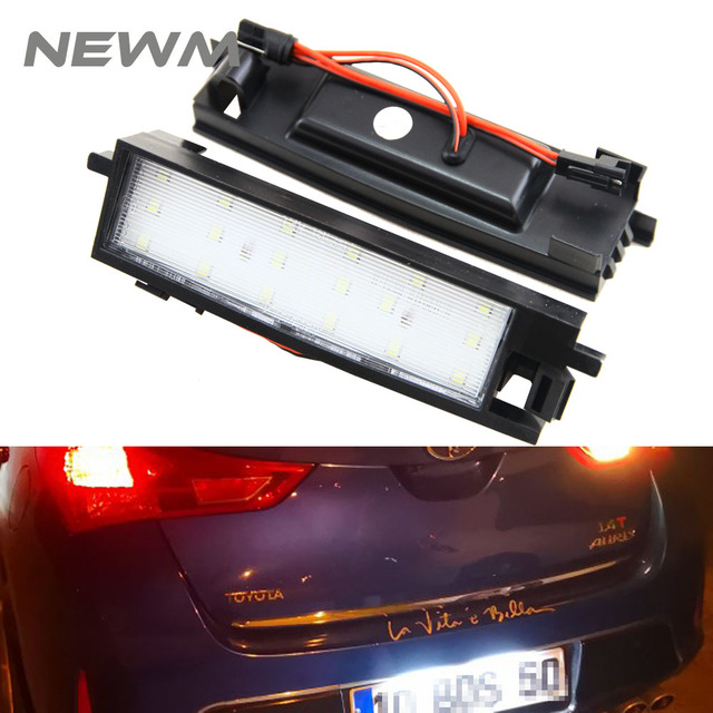 18SMD Led License Plate Light Tail Lamp Direct Fit for Toyota Auris RAV4 III 05-12 Auris II 2012- Yaris 99-05