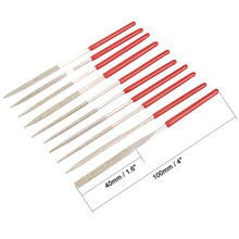 UXCELL 10PCS Red Silver 2mm x 100mm Diamond Needle File Set, use to Shape Steel, Glass, Tile,  Metal Glass Stone