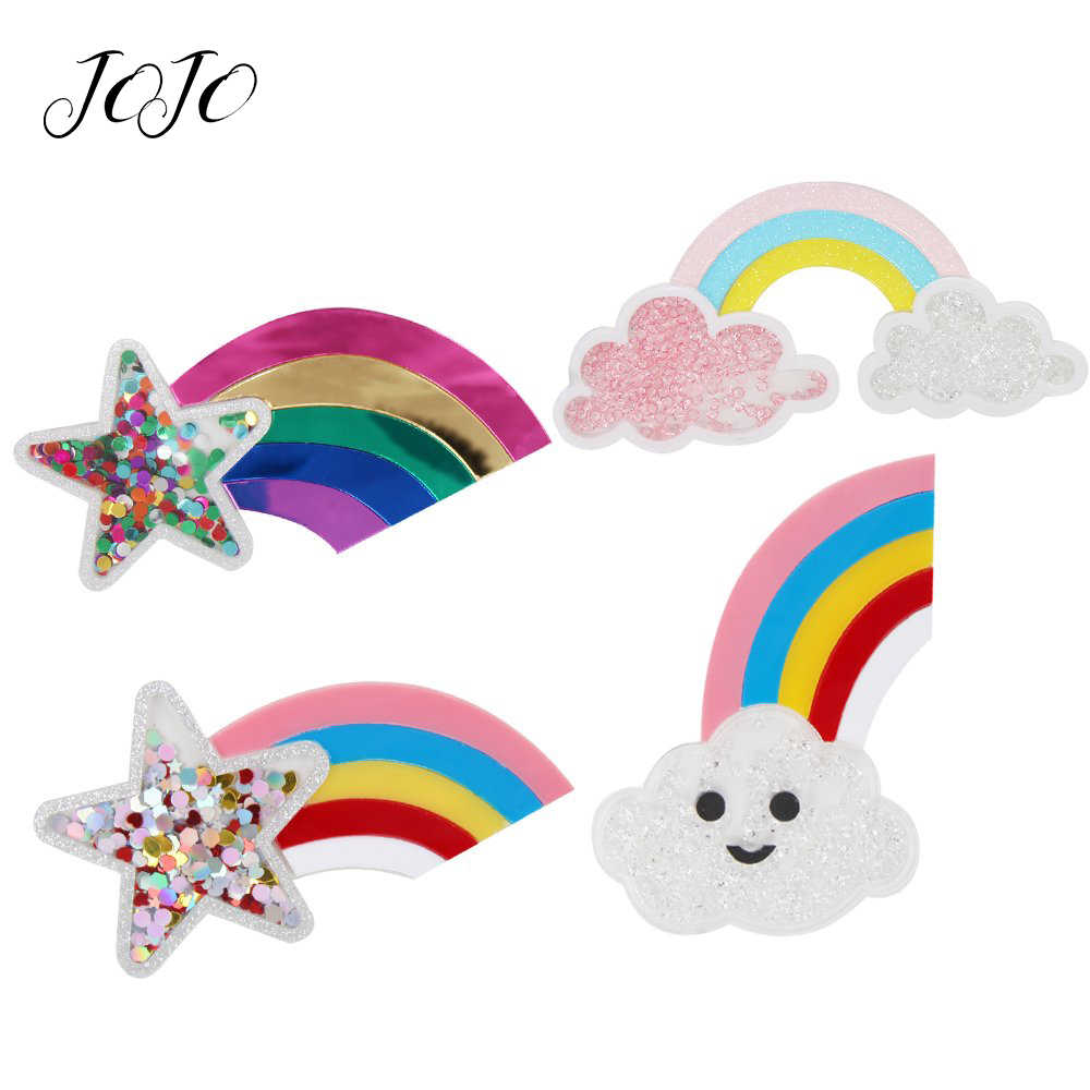 JOJO BOWS 1pc Flatback Resin Patches For Apparel Cloud Rainbow Pentagram Quicksand Accessories For Crafts Home Textile Stickers