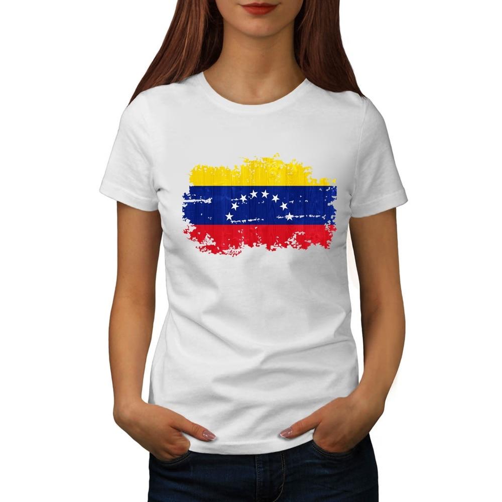 BLWHSA Sommer Venezuela Flagge Gedruckt T hemd Frauen Mode 100/% Baumwolle Marke T-shirts Venezuela Nationalen Flagge Mädchen Kleidung