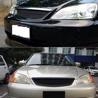 Racing Grills For Honda Civic 2001 2002 2003 2DR/4DR EM/ES Black ABS Type R Style Grille Cover Guard Car Parts Drop Shipping