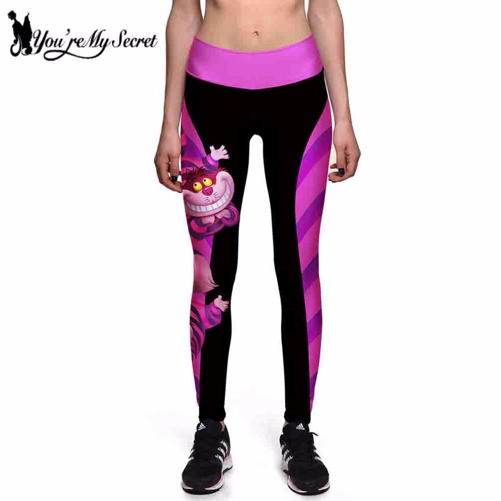 [Du är min hemlighet] Halloween Kvinnor Leggings High Waist Silm Fitness Leggins Alice I Underlandet Smile Cat Digital Print Pants