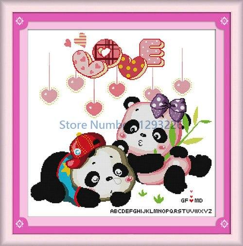 cdfa94bc2f78b Amantes de la panda dibujos animados patrón de pintura contado o estampado  DMC 11CT 14CT chino Cruz puntada kit bordado costura Set