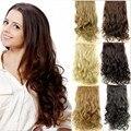 Largo ondulado 5 clips en la extensión, negro/marrón extensiones de pelo sintético, pelucas de fibra kanekalon pelo