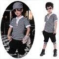 Детская одежда из 100% хлопка детская одежда в полоску с коротким рукавом Футболки шаровары мужчина дети мальчик набор