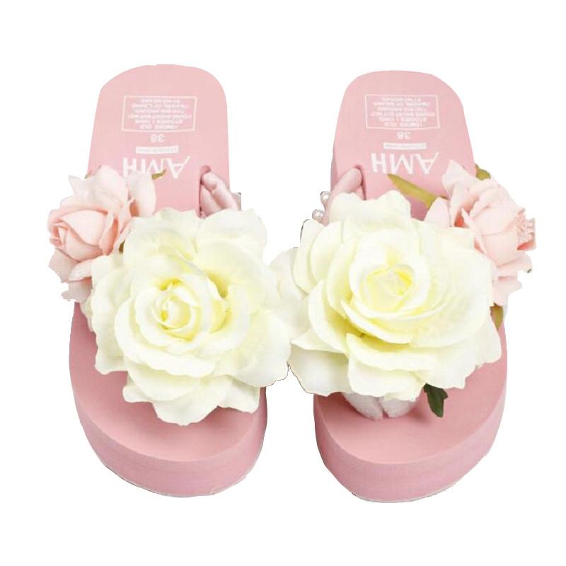 9bf4c4e01 Plusunion pink lady summer flower cunha slides sandálias sapatos mulher  Plataforma legal fêmea macio não slide seaside férias de praia em Sandálias  das ...