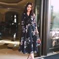 Coreano moda primavera e outono do vintage tinta impressa de ultra longo organza dress com decote em v cintura fina elegante das mulheres mid-calf dress