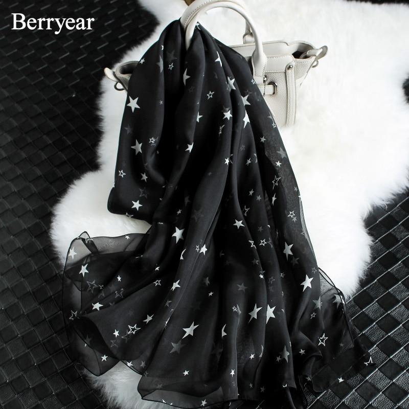 Berryear أزياء الحرير وشاح المرأة وشاح - ملابس واكسسوارات