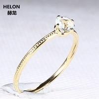 Solid 14 К желтого золота Обручение кольцо природный аквамарин 4,5 мм круглый Свадебная вечеринка кольцо Мода Fine Jewelry