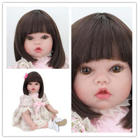 Foreign trade hot 24-inch long hair little girl silicone reborn babies dolls high-end gift every family toy set
