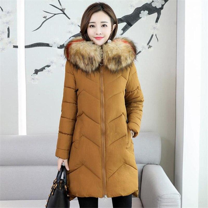 2018 Cuello de piel Talla grande 7XL mujeres invierno abrigo con capucha abrigo femenino Parka señoras caliente Chaqueta larga delgada Jaqueta femenina CM739-in Parkas from Ropa de mujer    3