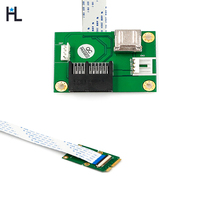 Mini PCIE to PCI E Express X1+USB Riser Card with FFC Cable High Speed diy 90degree slot