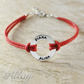 Alloy bracelet circle name bracelet,colorful  cord chain,Custom Engraved name bracelet,sport bracelet