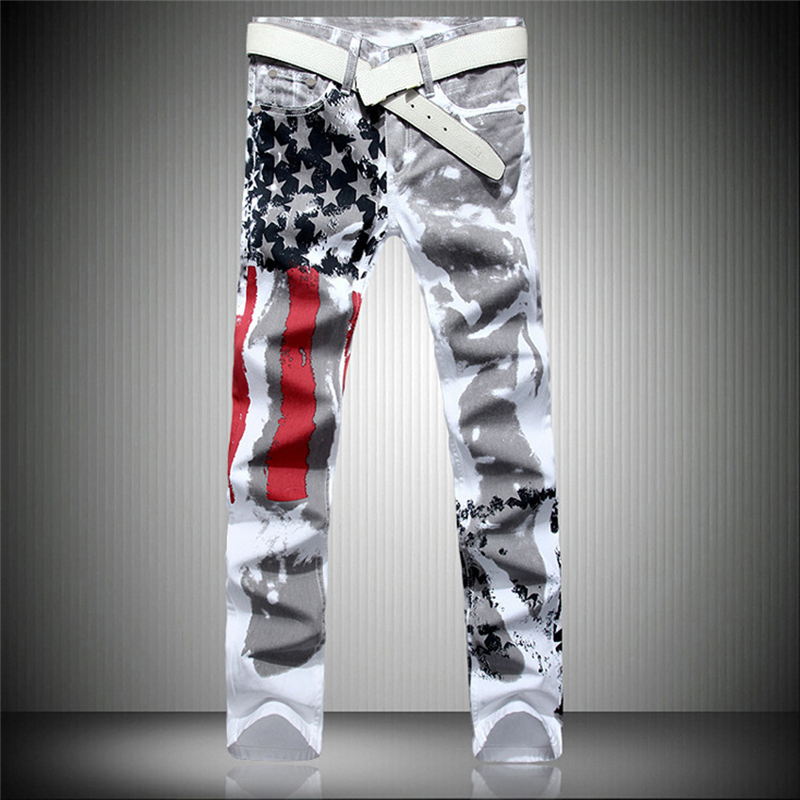 Spring Stylish Mens Fashion Slim-fit Jeans Pants Trousers USA American Flag Jeans Print Straight Pants Dropshipping