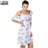 LAISIYI 2018 Summer Beach Sexy Boho Midi Dress Women Floral Print V Neck Ruffle Dresses Off