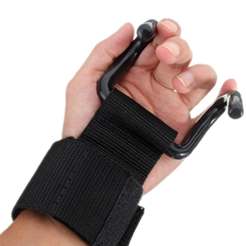1Pair Weightlifting Gloves With Hook Pull-up Exercise Assistance Wrist Band Gym Fitness Accessories Body Building Equipment