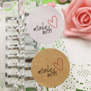 Image 5 - 100 pcs 3cm  made with Red Heart Kraft Sticker Gift Seal Stickers For Homemade Bakery & Gift Packaging