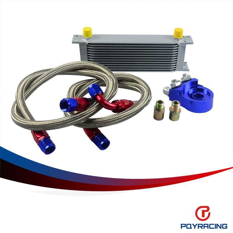 PQY RACING- AN10 OIL COOLER KIT 13RWOS TRANSMISSION OIL COOLER SILVER+OIL FILTER  ADAPTER BLUE PQY7013S+6723B pqy store an10 oil cooler kit 25rwos transmission oil cooler silver oil filter adapter blue pqy3825b