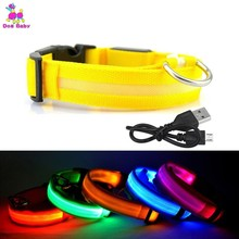 1PC USB Rechargeable LED Dog Collar Night Safety Flashing Glow Pet Cat With Usb Cable Charging Dogs Accessory