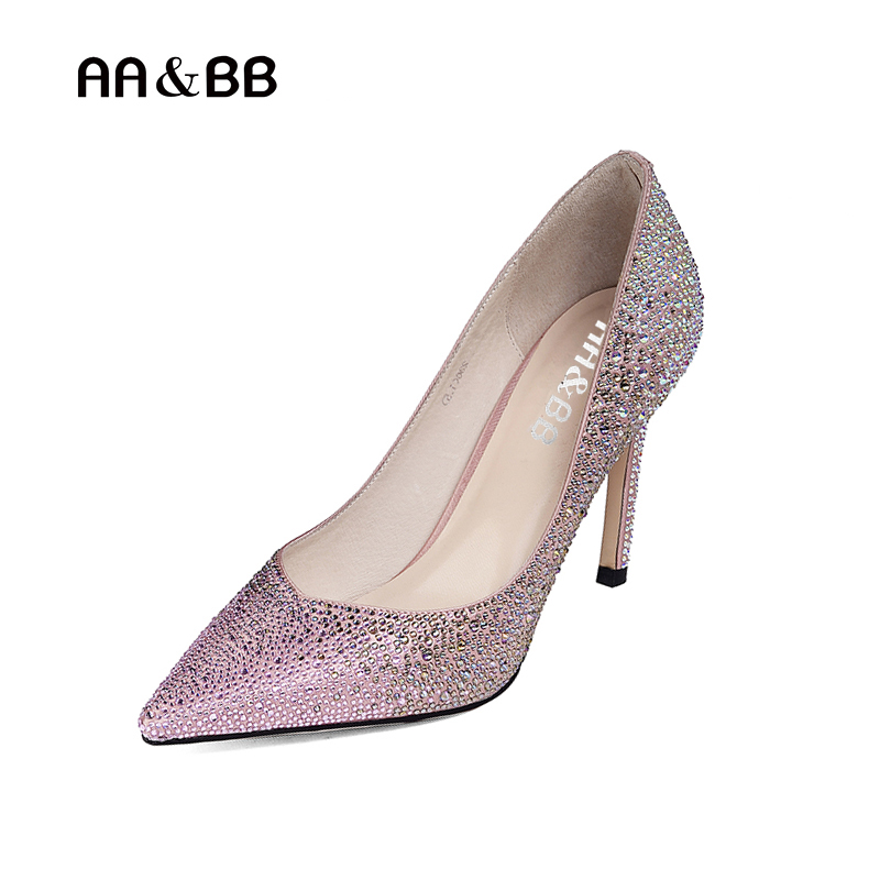 AA&BB new style crystal slip-on shoes woman pink elegant pointed toe thin heels wedding women shoes shallow pumps lttl bling elegant pointed toe high heels women pump slip on rhinestone pointed toe thin heel party wedding crystal shoes woman