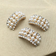 10pcs lot Craft Pearl Crystal Rhinestone Buttons Flower Round Cluster Flatback Wedding Embellishment Jewelry Craft(China)