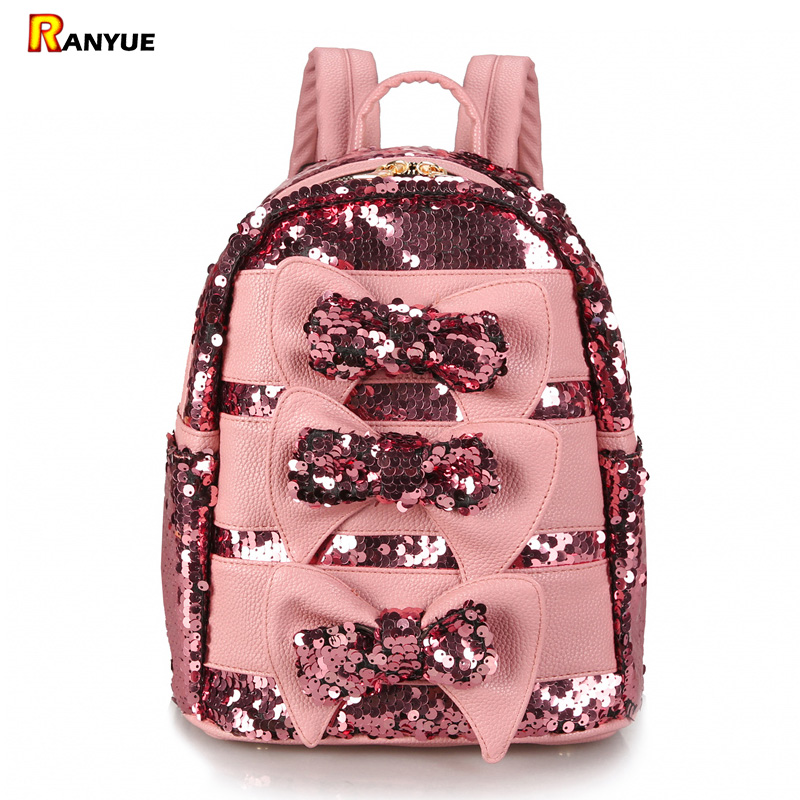 Pink Cute Bow Women Backpack Sequins Pu Leather Backpack Women School Bags Small Mini Backpacks For Teenage Girls Mochila Mujer цена 2017