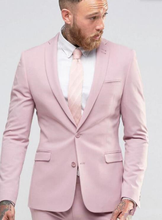 Light Pink Slim Fit Mens Suits Tailored Party Grooming Tuxedo Formal Dress Suit Men Single Breasted 2 Pieces Set Jacket Pants