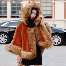 Brieuces 2018 winter new woman hooded cape imitation mane fox fur shawl coat