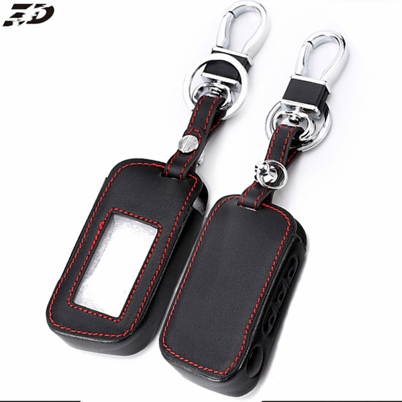 Leather Car Remote Key Case Cover with Keychain Key Protector for Starline A93 A63 Two Way Car Alarm image