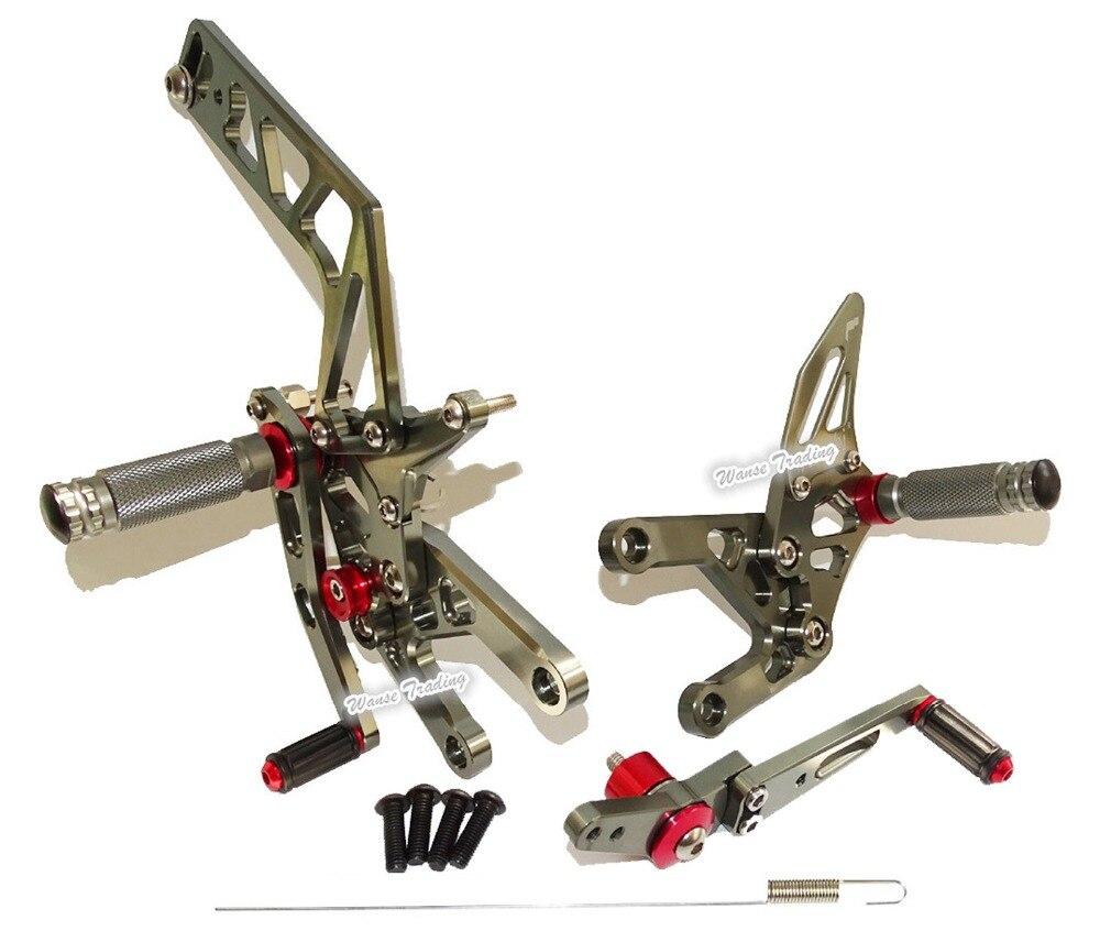 Waase CNC Réglable En Aluminium Cavalier montages pour siège arrière montage pour siège arrière repose-pieds chevilles Gris Pour Yamaha YZF R1 2015 2016