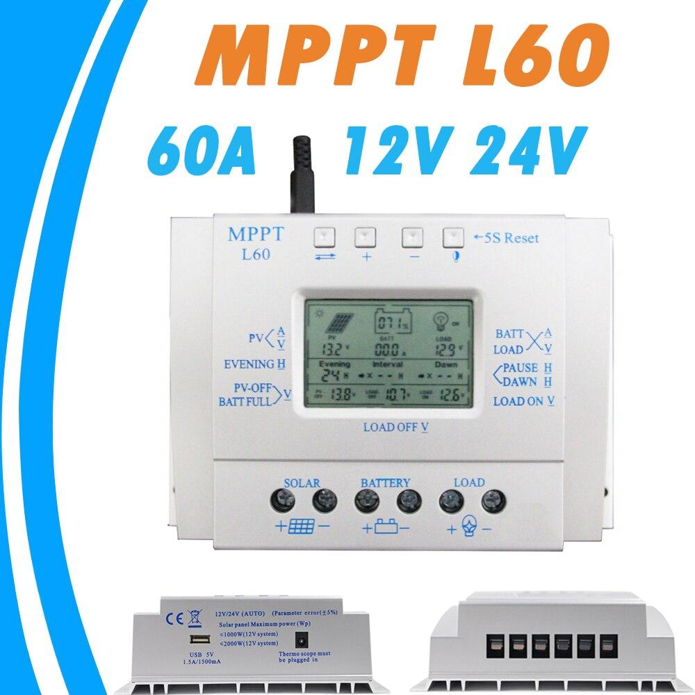60A contrôleur de Charge de batterie solaire LCD 12 V 24 V Auto avec USB 5 V 1500mA régulateur solaire haute efficacité système de suivi solaire