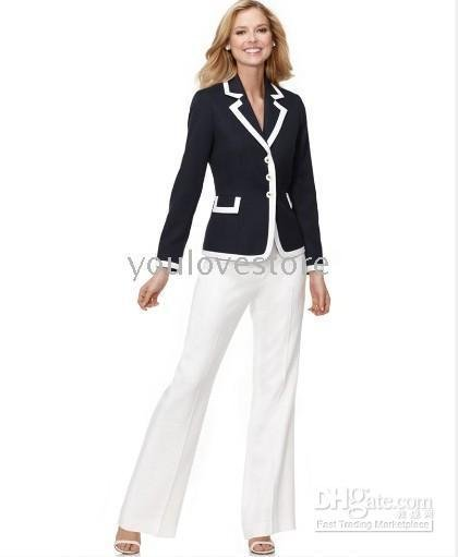 Brand Women Suit Accept Custom Made Suit  Women's Suits Black Jacket+White Pants 388