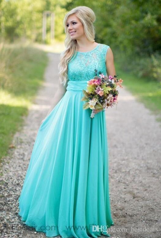 Sheer Neck Lace Top Chiffon Long Country vestido Maid of Honor Wedding Guest prom gown 2018 Cheap Turquoise   Bridesmaid     Dresses