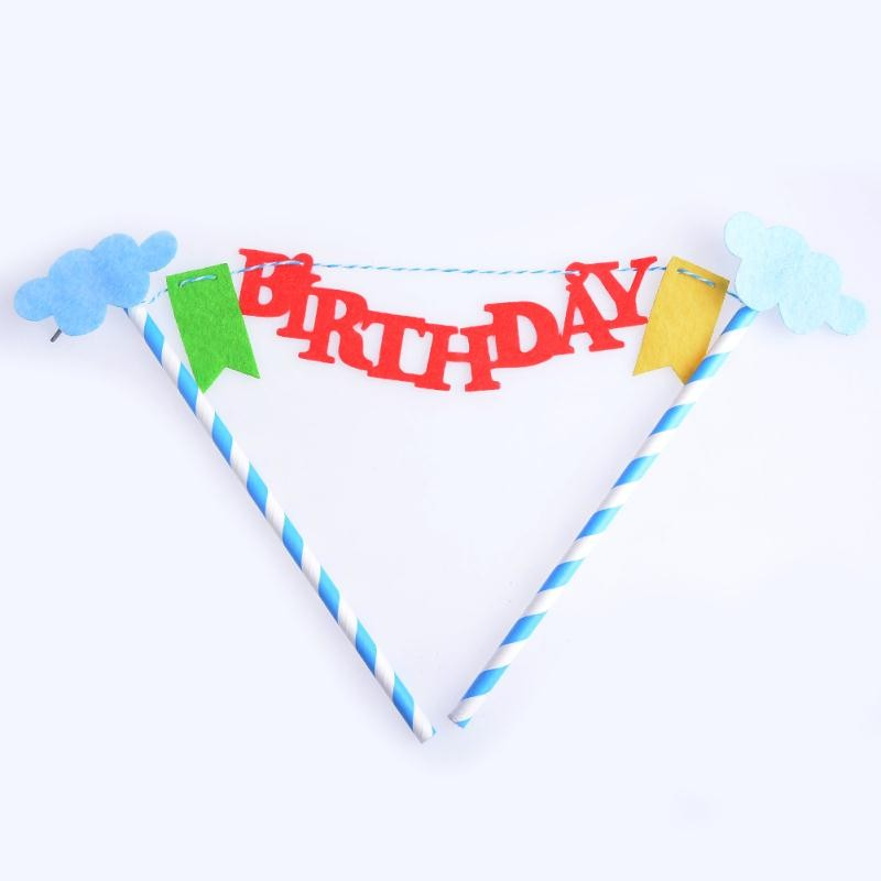 Imixlot Blue Color Script Happy Birthday Cake Toppers Kids Birthday